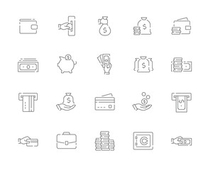 Simple set of Money vector line web icons. Contains such Icons as Cash, Wallet, ATM, Hand with a Coin and more and more. Editable Stroke. 48x48 Pixel Perfect.