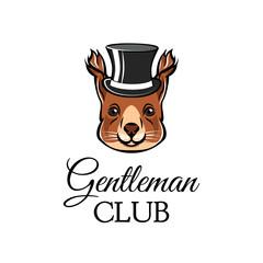 Squirrel in top hat. Gentleman club lettering. Vector illustration.