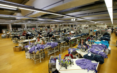 "Employees are pictured in the sewing room of the Textile company ""TRIGEMA"" in Burladingen"