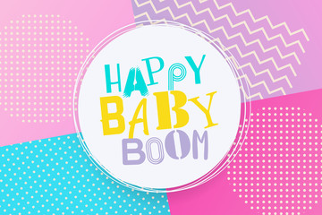 Happy birthday background Memphis style. Retro holiday backdrop 80s 90s pop art. Baby boom comic text lettering different font. Anniversary greeting poster. Halftone pattern vector illustration.