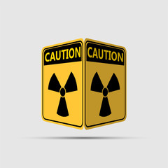warning yellow of the danger,radiation icon double sided symbol,Vector illustration