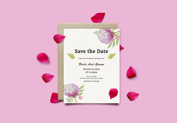 Save the Date Card Layout with Pink Wildflowers 1