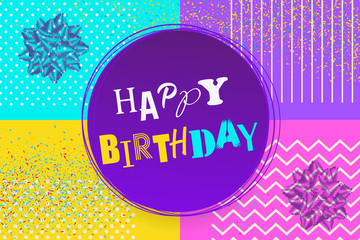 Happy birthday background Memphis style. Retro holiday backdrop 80s 90s pop art. Comic text lettering different font. Anniversary greeting poster. Halftone pattern vector illustration.