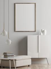 Mock up poster, living room interior concept, Scandinavian style, 3d render, 3d illustration