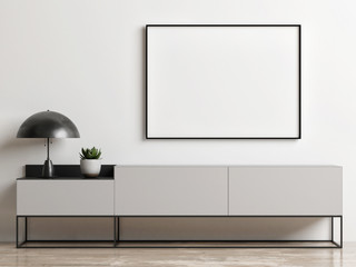 Mock up poster on chest drawer, Scandinavian style , 3d render, 3d interior