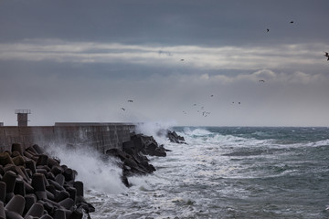 Storm at the coast of Helgoland