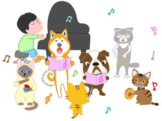 犬と猫のコンサート。子供とペットが歌ったり、楽器を演奏したりしている。