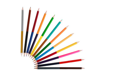 Bright double sided color pencils, art concept