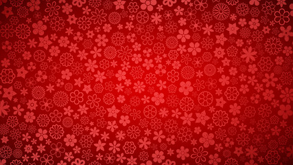 Background of various small flowers in red colors