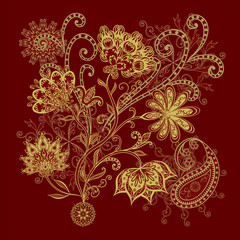 Bouquet of fantastic flowers. Background in ethnic traditional style.