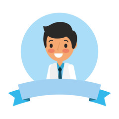 medical doctor portrait cartoon ribbon vector illustration