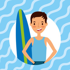 happy young man with surfboard vector illustration