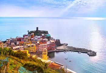 Vernazza village, aerial panoramic view. Cinque Terre, Ligury, Italy