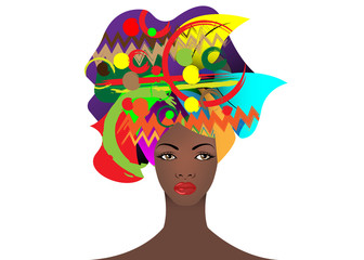 portrait of the young African woman in a colorful turban. Wrap Afro fashion, Ankara, Kente, kitenge, African women dresses. Nigerian style, Ghanaian fashion. Vector for Print, poster, t-shirt, card
