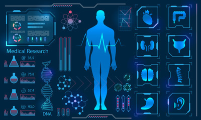 Medical Health Care Human Virtual Body Hi Tech Diagnostic Panel, Medicine Research