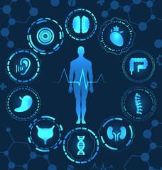 Medical Health Care, Human Organs, Virtual Body Hi Tech Diagnostic Panel
