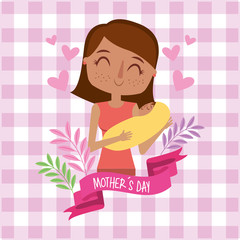 mother holding her newborn baby in her arms floral pink checkered background - mothers day card vector illustration