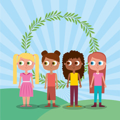 Aluminium Prints Rainbow friends happy girl teen characters and floral wreath vector illustration