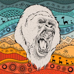 Hand draw gorillas portra on African hand draw ethno pattern, tribal background. Vector illustration