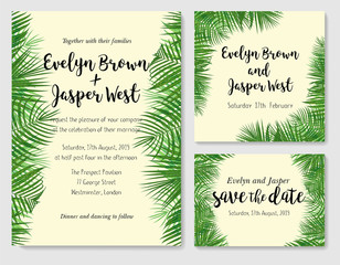 Vector pattern set of wedding invitation cards with a picture of palm green leaves. Vector handmade watercolor drawing of the areca foliage