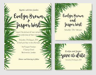 beautiful set of wedding invitation cards with a picture of palm green leaves. Vector hand watercolor drawing of green foliage. Greeting cards, labels, banner, certificate