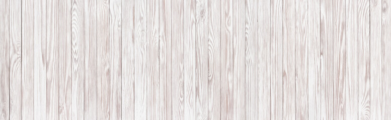 White wood texture, panoramic wooden table background for layout
