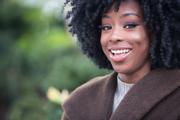 Cute African American girl laughing