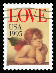 UNITED STATES OF AMERICA - CIRCA 1995: A stamp printed in the United States of America shows image of cupid, circa 1995