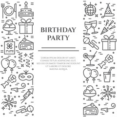 Birthday party banner with two vertical lines of line icons with editable stroke.