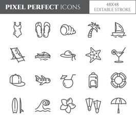 Summer vacation pixel perfect thin line icons set with editable strokes.