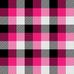 Lumberjack plaid pattern in pink, white and black. Seamless vector pattern. Simple vintage textile design.
