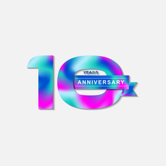 Happy 10 year anniversary with fluid color. Birthday Number Template. EPS 10 vector.