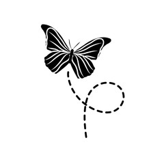 silhouette cute butterfly insect animal flying