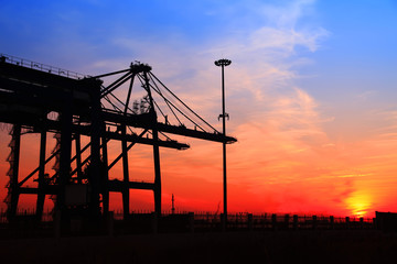 in the evening,Freight dock of container crane