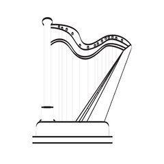 Isolated harp icon. Musical instrument