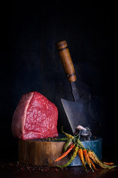 Raw meat, beef steak with cooking ingredients, spices