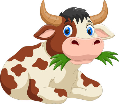 Cute cartoon cow eating grass