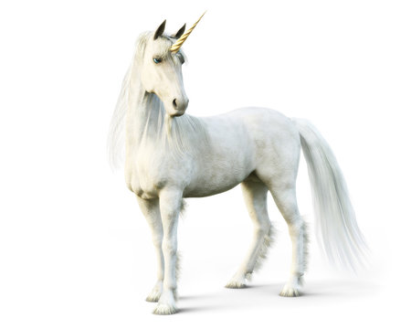 Majestic unicorn posing on a white isolated background. 3d rendering