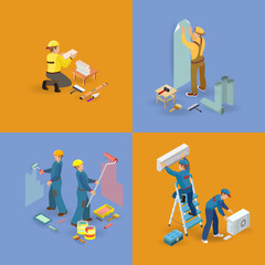 Isometric interior repairs icons set.  Workers, tools.