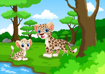 Leopard cartoon in the forest with his cute son