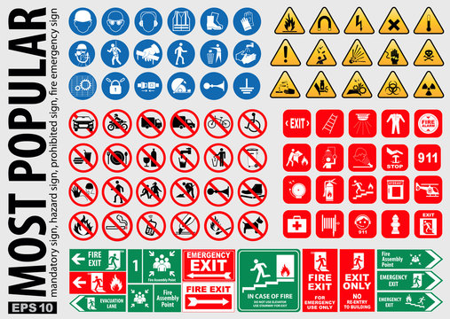Most Popular signs (mandatory sign, hazard sign, prohibited sign, fire emergency sign). ready source in sticker, poster, web, brochure,flyer, and another printing material. easy to modify