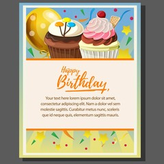 happy birthday theme poster with cupcake and balloon
