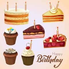 various birthday cake set