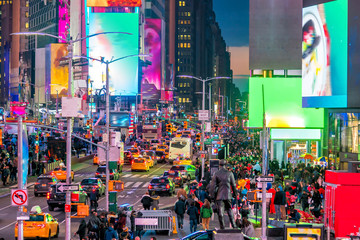Times Square, iconic street of Manhattan in New York City Wall mural