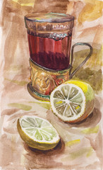 Watercolor painting depicting an old-fashioned glass and cut lemon