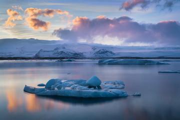 Jokulsarlon Glacier Lagoon at sunset during winter in Iceland