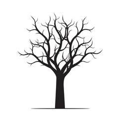 Black Tree without Leaves. Vector Illustration and graphic element.