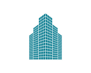 blue building icon skyscraper cityscape architecture construction image vector