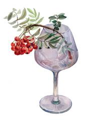 Watercolor painting depicting glass wine glasses and Rowan berries