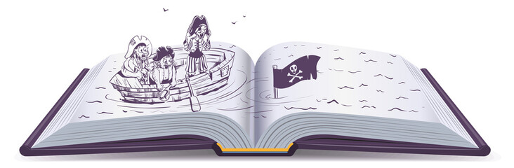 Pirates in boat sinking ship. Open book of adventure